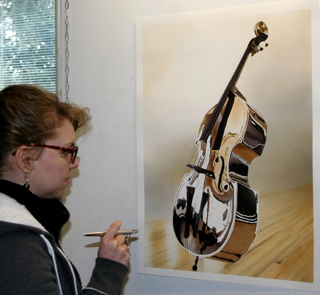Réalisation d'un instrument de musique en peinture aérographe